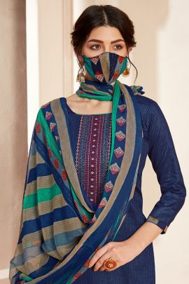 Set Of Casual Wear Embroidery Work Cotton Patiyala Suit By Alok Suit
