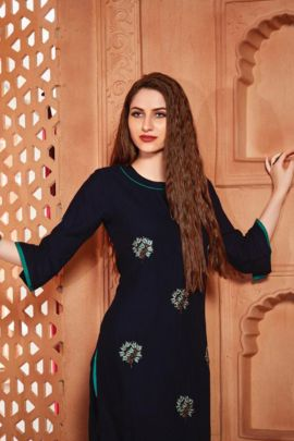 Set Of Casual Wear Embroidery Work Rayon Kurti By R Studio