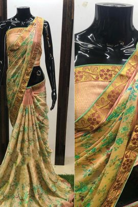 Set Of Event Ethnic Wear Printed Moss Chiffon Saree With Blouse Piece