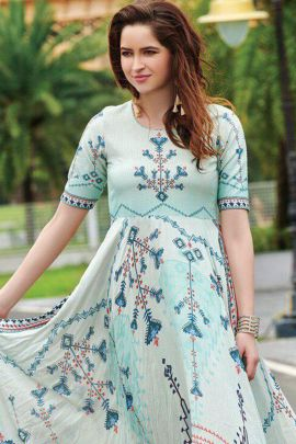 Set Of Festive Wear Muslin Cotton Digital Printed Long Sleeves Gown