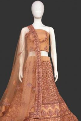 Set Of Wedding Guest Wear Embroidered Net Kapoor Lehenga Choli With Dupatta