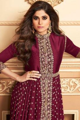 Set Of Wedding Wear Georgette Embroidered Anchal Creation Indo Western Suit