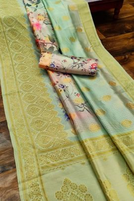 Wholesale Banarasi Silk Digital Printed Saree With Zari Wooven Pallu And Border By JK Series