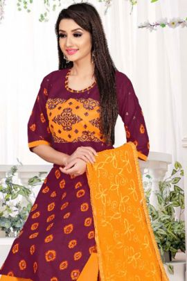 Wholesale Cambric Cotton Printed Readymade Daily Wear Patiyala Suit With Dupatta Collection