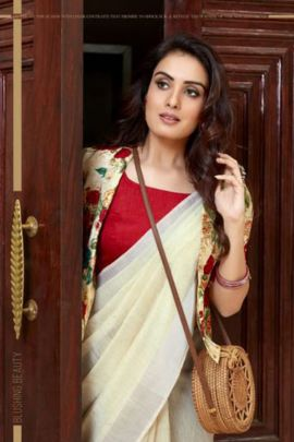 Wholesale Casual Wear Printed Linen Saree With Blouse Set
