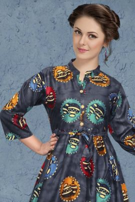 Wholesale Casual Wear Printed Rayon Frok Style Kurti Set