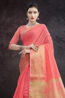 Wholesale Chanderi Weaved Festive Wear Saree With Blouse Piece Collection