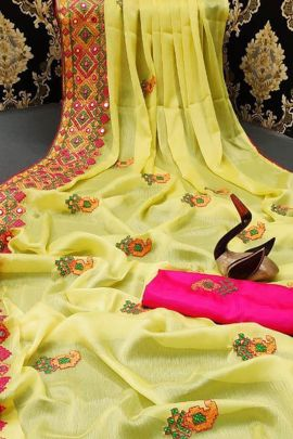 Wholesale Chiffon Embroidered Mirror Work Saree By Fashion Reloader