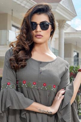 Wholesale College Wear Hand Work Rayon Top Collection