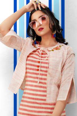 Wholesale College Wear Printed Cotton Kurti With Pant And Jacket Set