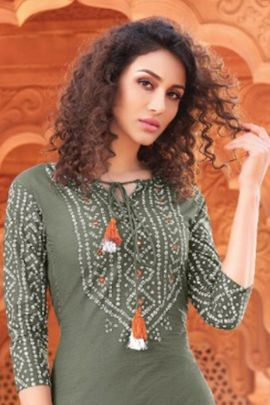 Wholesale College Wear Printed Rayon Cotton Kurti With Bottom Set