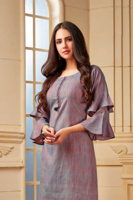 Wholesale Cotton Simple Plain Evening Wear Stylish Knee Length Kurti Collection