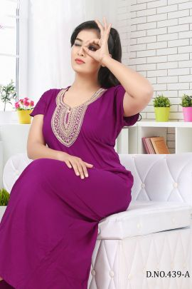 Wholesale Daily Night Wear Plain Hosiery Cotton Night Gown Collection
