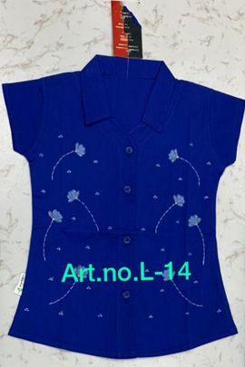 Wholesale Daily Wear Embroided Kids Girls Cotton Shirt Collection