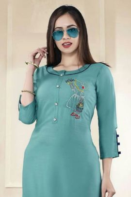 Wholesale Daily Wear Embroided Rayon Stright Kurti Collection