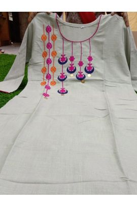 Wholesale Daily Wear Embroidery Work Rayon Cotton Knee Length Kurti Collection
