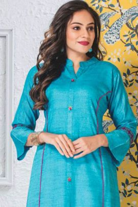 Wholesale Daily Wear Plain Rayon Long Sleeves Kurti Set