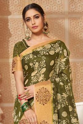 Wholesale Daily Wear Printed Cotton Saree With Blouse Set
