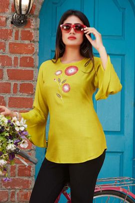Wholesale Daily Wear Rayon Embroidery Tunics Vol 2 Tops Collection