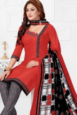 Wholesale Daily Wear Simple Printed Cotton Dress With Dupatta Collection