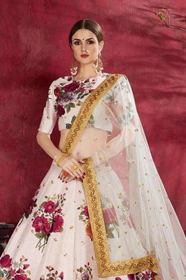 Wholesale Digital Printed Heavy Embroidered Border and Pearl work Lehenga Choli By AN