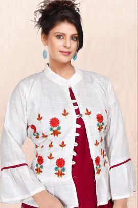 Wholesale Ethnic Event Wear Printed Rayon Kurti With Shrug Collection