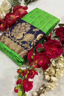 Wholesale Ethnic Event Wear Weaved Cotton Silk Saree With Blouse
