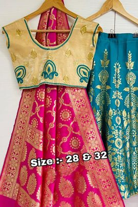 Wholesale Ethnic Traditional Wear Embroidery Satin Kids Lehenga Choli Catalog