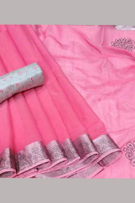Wholesale Event Ethnic Wear Stone Work Chanderi Cotton Saree Collection