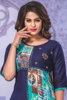 Wholesale Fancy Fabric Printed Daily Wear Knee Length Kurti Collection