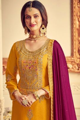 Wholesale Festival Wear Chinon Embroidered Salwar Suit With Dupatta Set