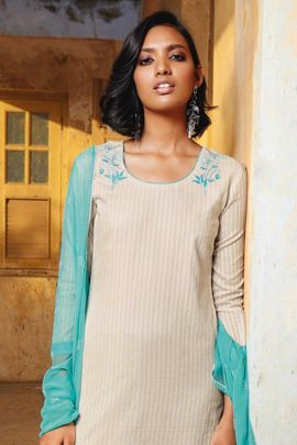 Wholesale Festival Wear Embroidery Work Cotton Jacquard Suit By Ganga