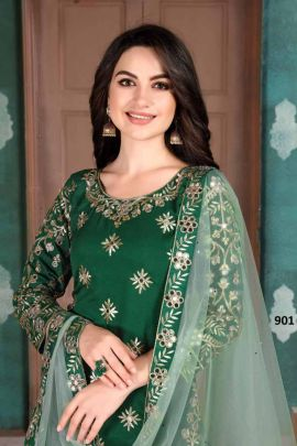 Wholesale Festival Wear Silk Embroidery Work Salwar Suit With Dupatta Set