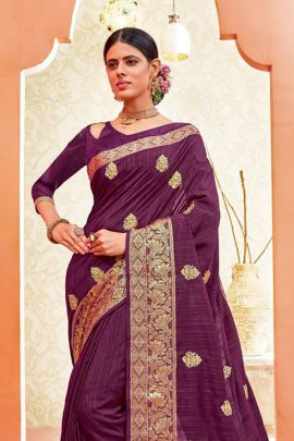 Wholesale Festive Traditional Wear Embroidery Silk Saree With Tassels