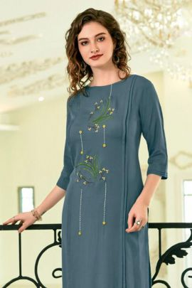 Wholesale Festive Wear Embroided Ladies Flavour Stright Cut Rayon Kurti Collection