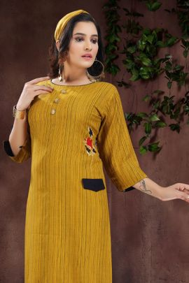 Wholesale Festive Wear Embroided Rayon Kurti Catelogue