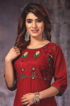Wholesale Festive Wear Embroided Rayon Kurti Collection