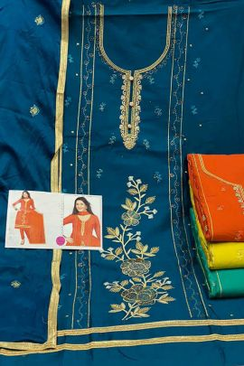 Wholesale Festive Wear Jam Silk Suit With Work By K Anuj
