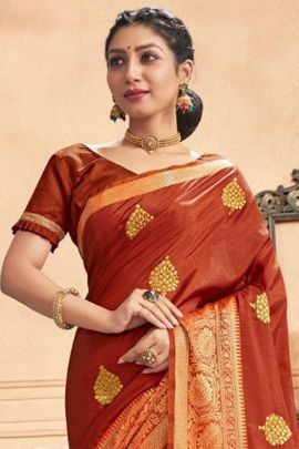 Wholesale Festive Wear Weaved Silk Saree With Blouse Set
