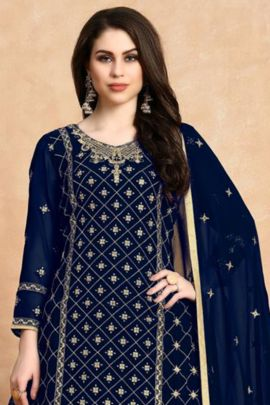 Wholesale Georgette Embroidered Knee Length indo Western Suit With Dupatta Collection