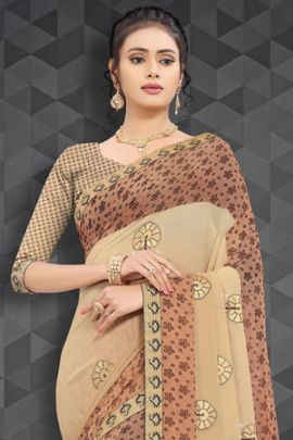 Wholesale Georgette Simple Printed Daily Wear Raghav Fashion Saree With Blouse Piece Collection