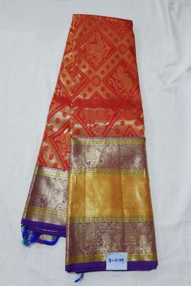 Wholesale Kanchipuram Pure Handloom Bridal Silk Sarees With Blouse Piece