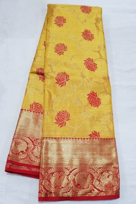Wholesale Kanchipuram Pure Handloom High Tissue Silk Saree With Blouse Piece Collection