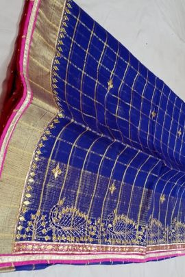 Wholesale Kota Silk Stone Work Event Wear Saree With Blouse Piece Collection