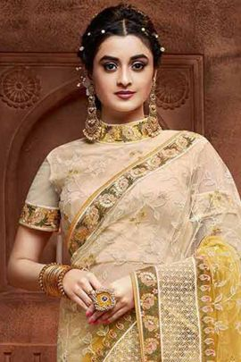Wholesale Net Chicken Work Fancy Saree With Blouse Piece By Ardhangini Collection