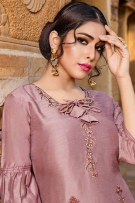 Wholesale Ocassion Wear Embroidered Viscose Kurti With Plazzo By Yami Fashion