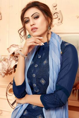 Wholesale Ocassional Wear Luckhnowi Embroidered Kurti With Pant and Viscose Scarf By Manas