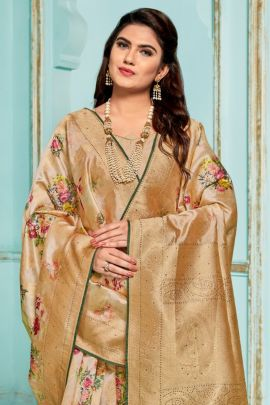 Wholesale Occasional Fancy Wear Printed Jacquard Saree With Blouse Collection