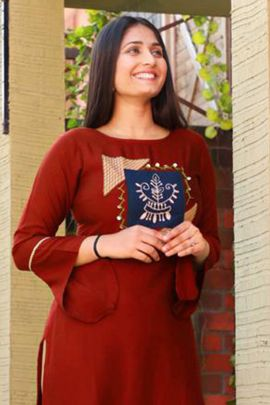 Wholesale Office Wear Embroidery Rayon Kurti With Pant Set