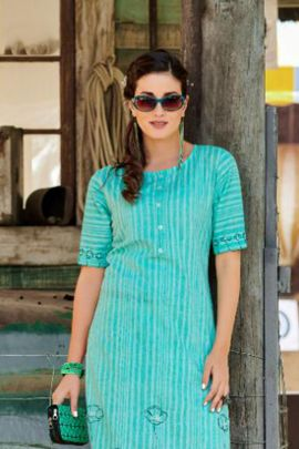 Wholesale Office Wear Embroidery Work Cotton Kurti By 100 Miles